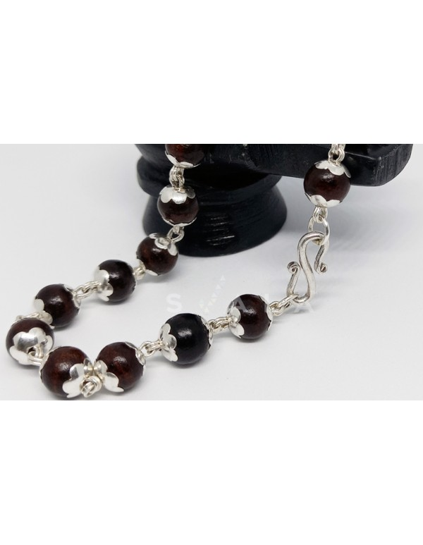 (5gm) 999 ) Purity Silver caps -Red Sandalwood bracelet for men and women