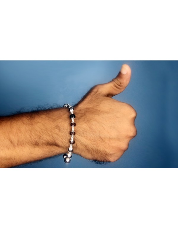 (5gm) 999 Purity Silver caps -Red Sandalwood bracelet for men and women