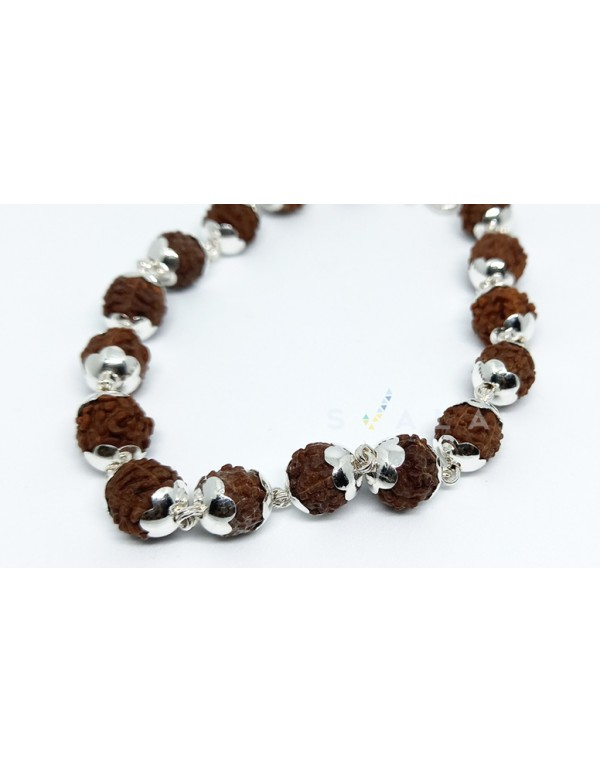 (6gm) 999 Purity Silver caps -5 Mukhi -Rudraksha bracelet for Men and Women