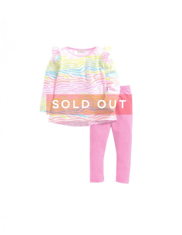 Florescent Print Top Pink Leggings Set
