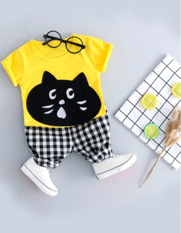 Yellow Cat Print T-Shirt and Pant Set
