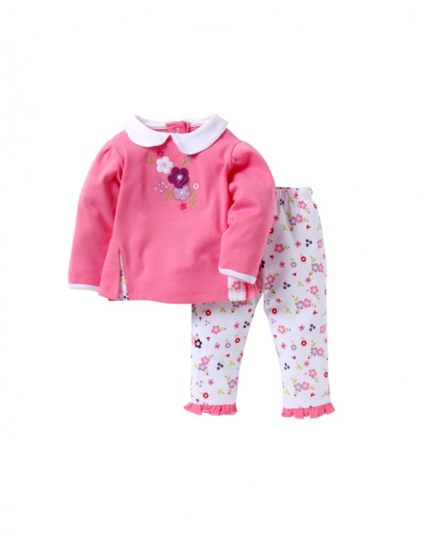 Pink Flower Applique Top and Pant Set