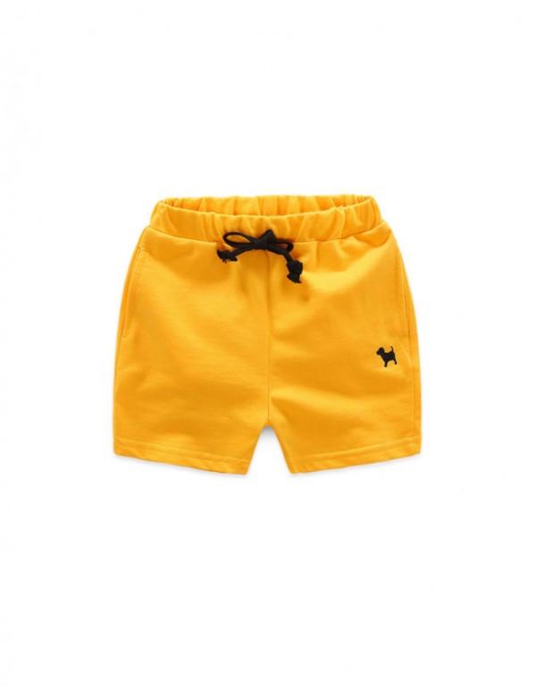 SC-Yellow Solid Pattern Waist Shorts