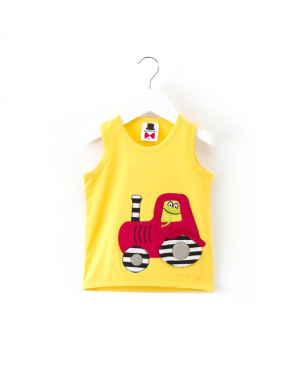 Cat Papa-Yellow Vehicle Applique Vest