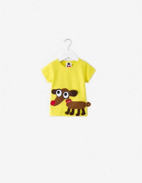 Cat Papa-Yellow Animal Applique T-Shirt