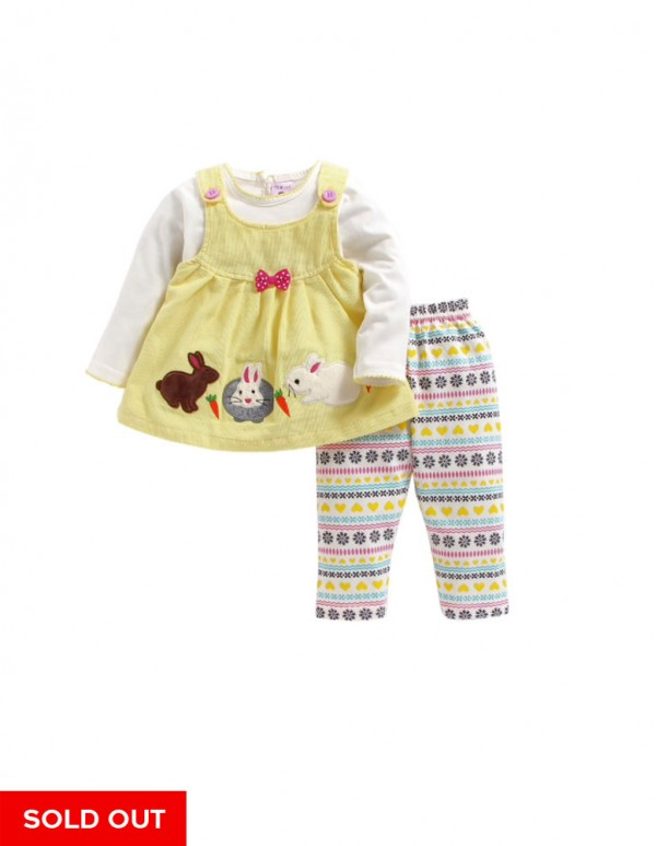 Kids-Rabbit Print Lime Dress with Leggings