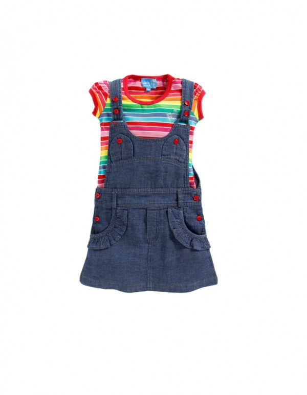 Navy Pinafore with Multicolour Stripe