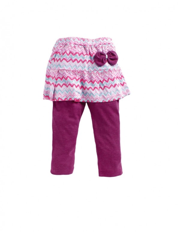 Kids-Printed Purple Skirt Leggings