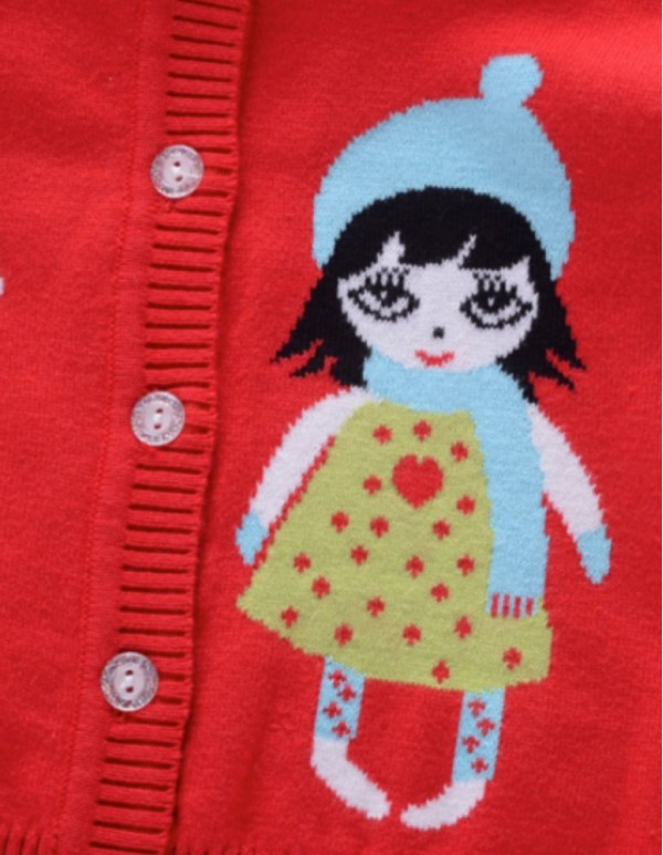 Funky Red Girl Print Cardigan