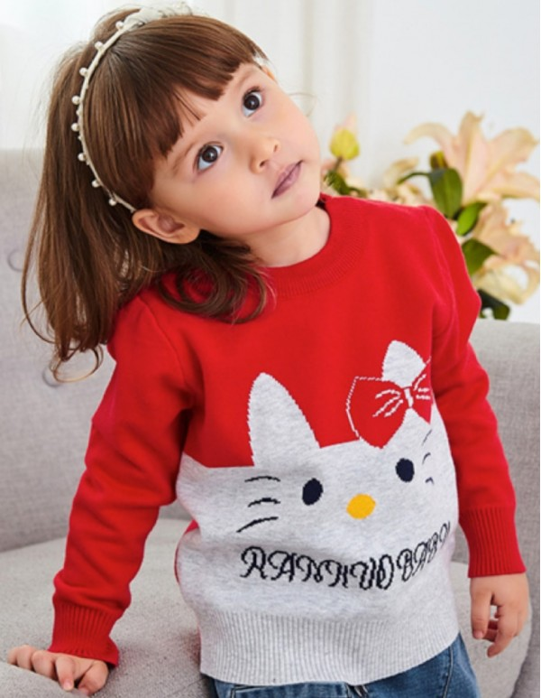 Red Animal Text Print Sweater