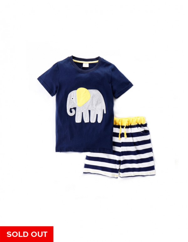 GT -Navy Elephant T-Shirt and Shorts Set
