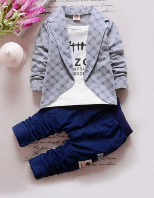 Gray Full Sleeves Jacket Style T-Shirt And Pant Set