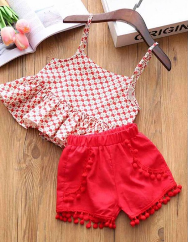LNSBB-Trendy Red Top and short Set