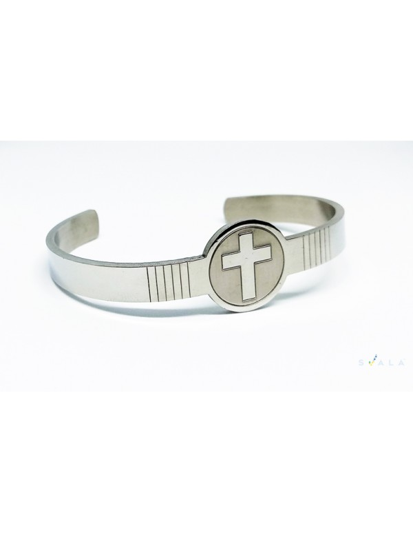 Premium Stainless Steel  Christian Cross Cuff for men