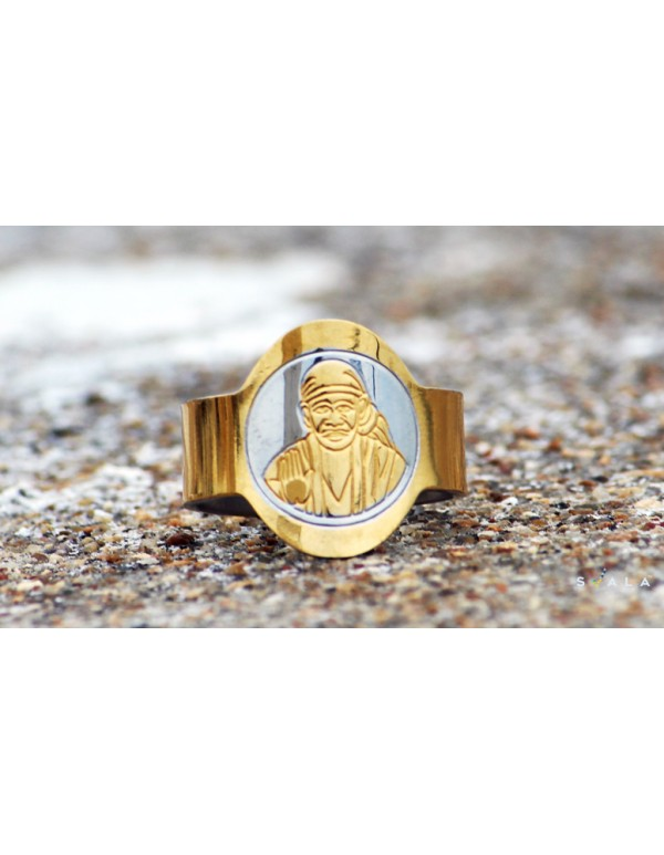 Oval Shaped Stainless Steel Saibaba Ring for Men and Women