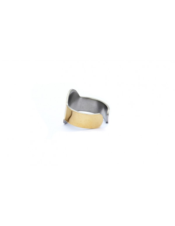 Oval Shaped Stainless Steel Gold plated Saibaba Ring
