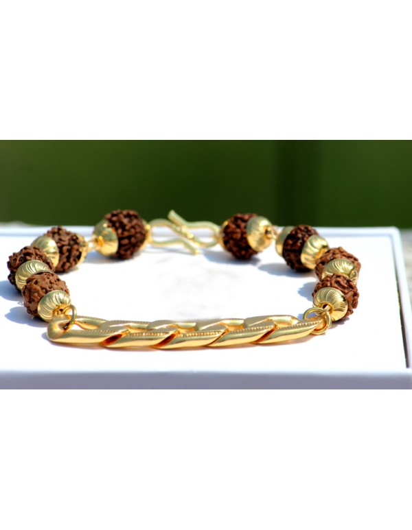 Rudraksha Beaded gold tone bracelet