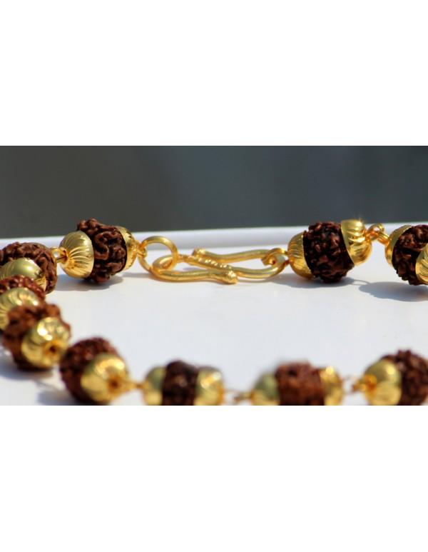 Rudraksha beaded gold plated bracelet for men