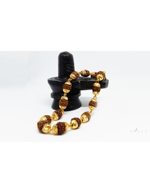 Rudraksha beaded gold plated bracelet for men