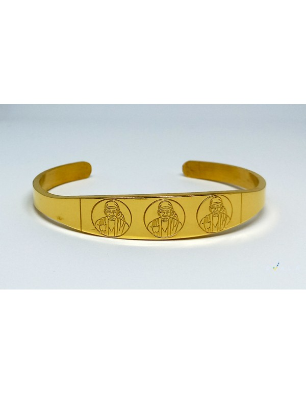 Premium gold Finish Saibaba Gold plated cuff bracelet for men and women -Standard Size