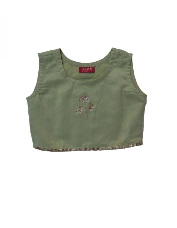 Pista Green Crop Sequence top with Faired Pants