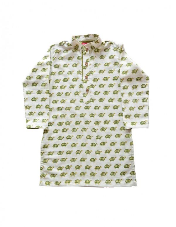 Boy's mandarin collar tortoise printed Kurta Set