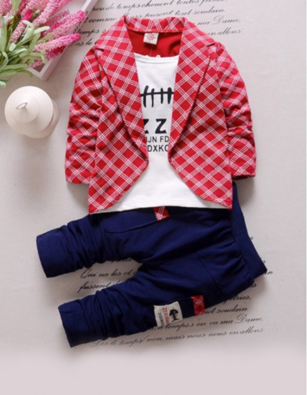 Red Full Sleeves Jacket Style T-Shirt And Pant Set