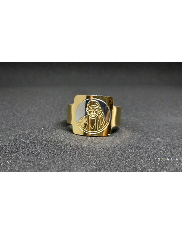 Square Shaped Stainless Steel Saibaba Ring