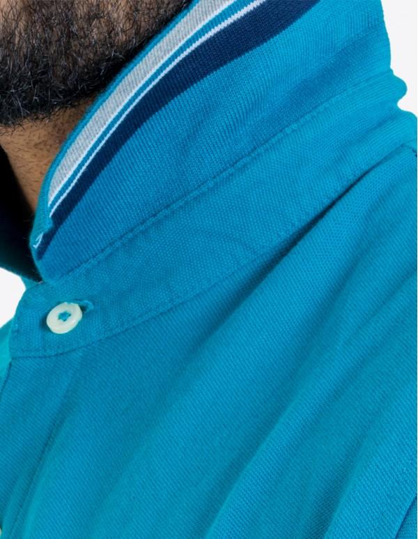 Men's Striped Polo collar - Ocean blue
