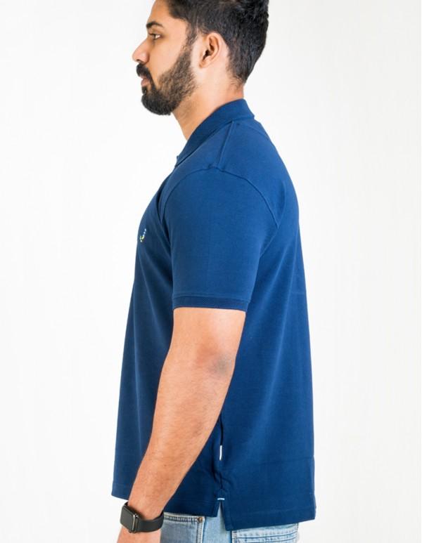 Men's Jacquard Collar Polo - Denim Navy