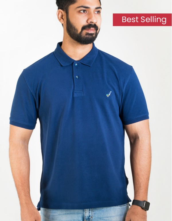 Men's Jacquard Collar Polo - Denim Navy