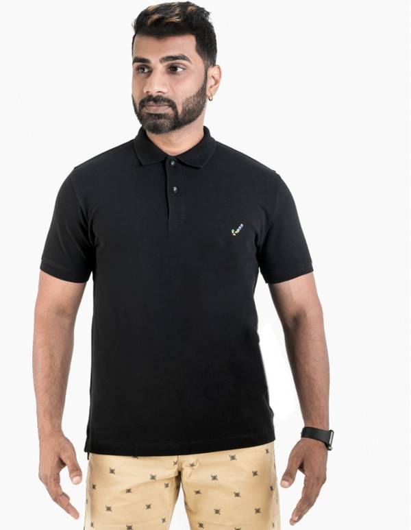 Men's Jacquard Collar Polo - Jet Black