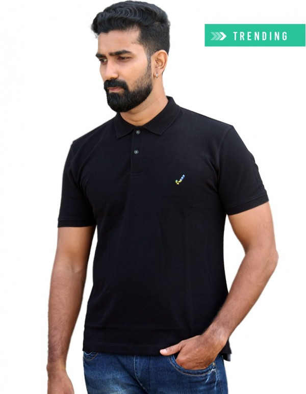 Men's Jacquard Collar Polo - Jet Black