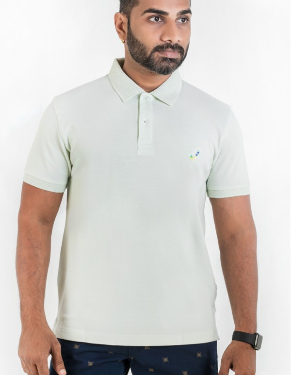 Men's Jacquard Collar Polo - Mint