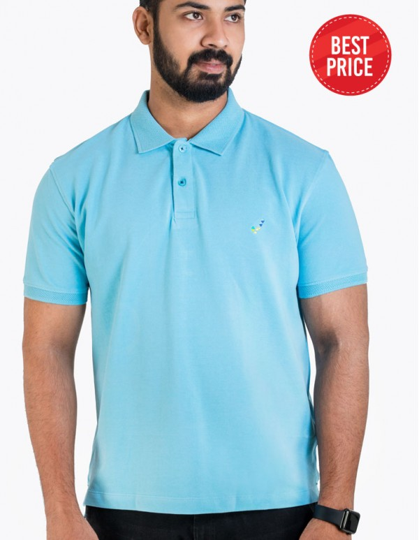 Men's Jacquard Collar Polo -FR Blue