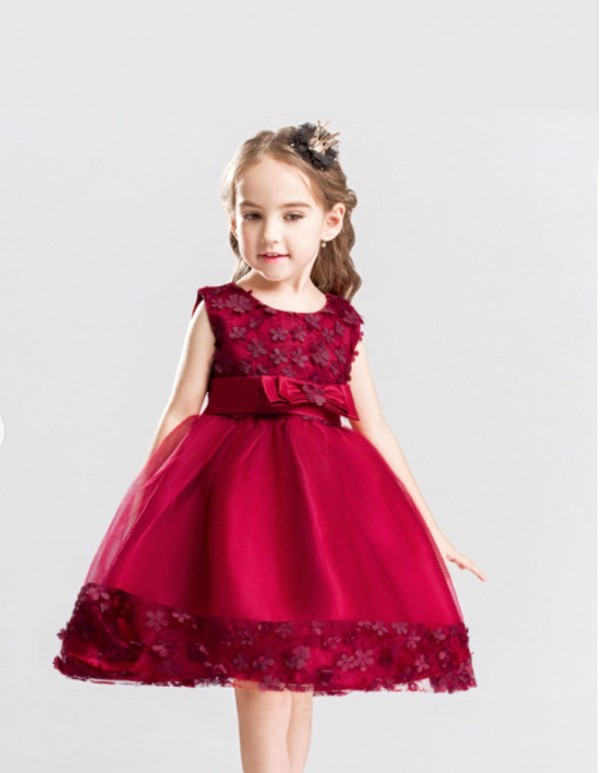 Maroon Bow Applique Party Dress