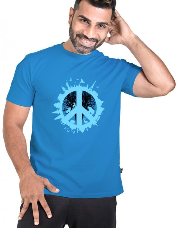 Men's Crew Neck Custom Printed Tee -Peace