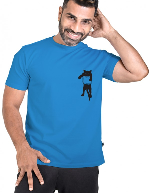 Men's Crew Neck Custom Printed -Pocket Cat Tee