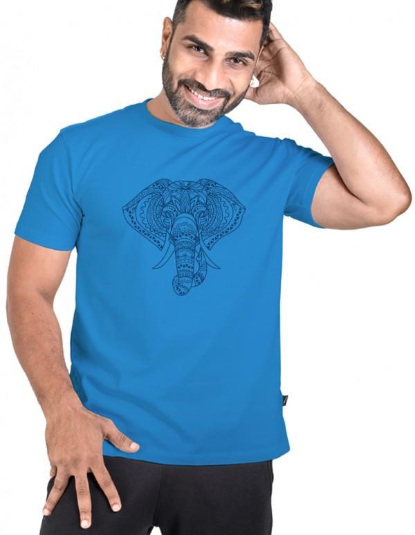 Crew Neck Men's Blue Custom Printed -Vector Elephant