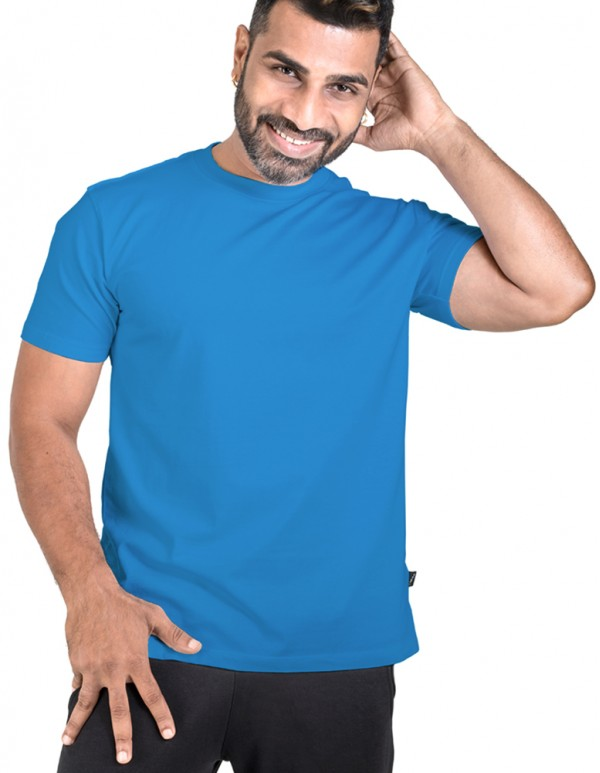 Crew Neck  Men's Blue Plain T-shirt