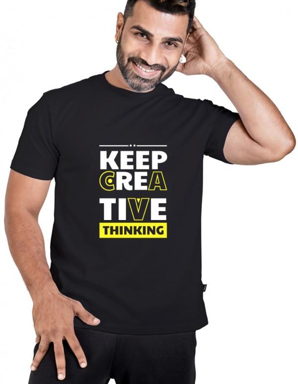 Crew Neck Men's Black Custom TEXT Printed-CREATIVE THINKING Tee
