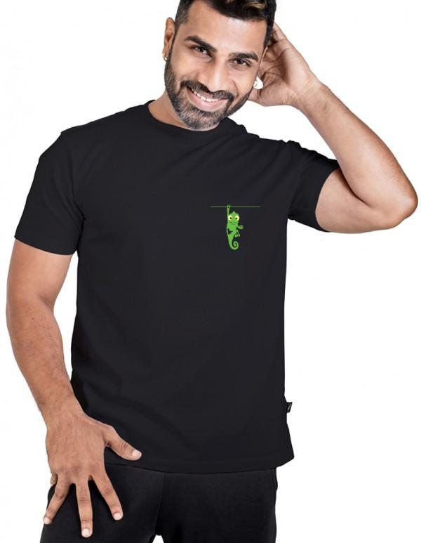 Crew Neck Men's Black Custom Printed T-shirt
