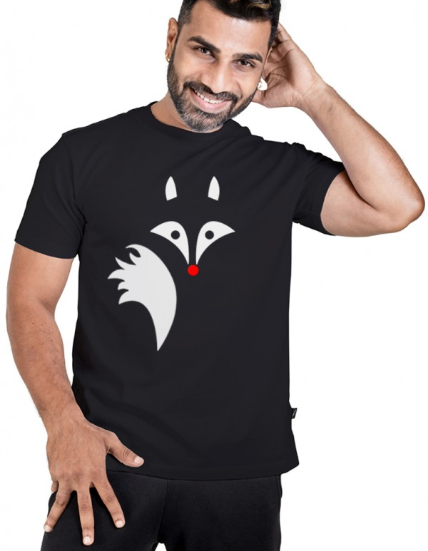 Men's Jet Black Custom Printed - White fox Tee