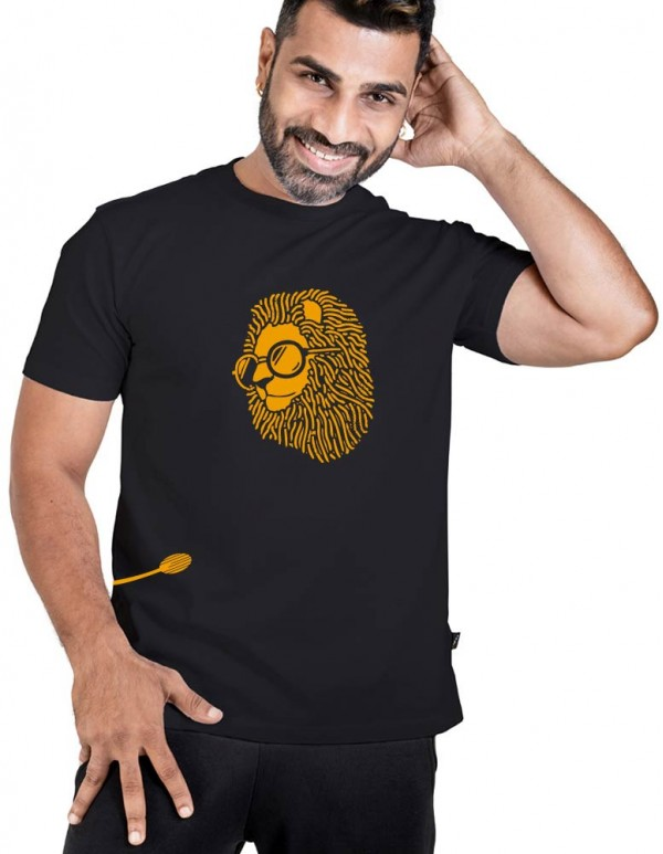 Men's Jet Black Custom Printed T-shirt-Singham