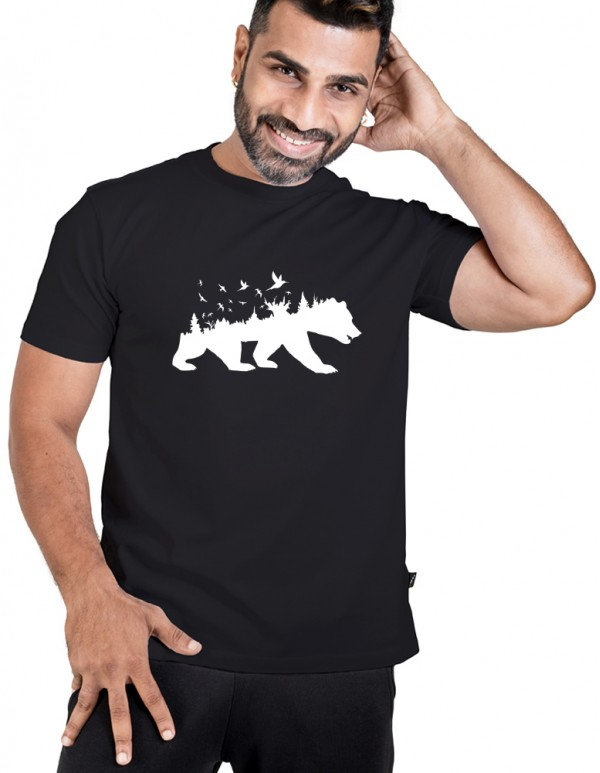 Men's Crew Neck Custom Printed Tee -Jungle Bear Tee