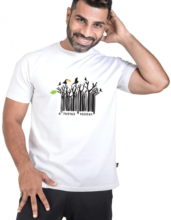Crew Neck Men's White Custom Printed-Barcode Tee