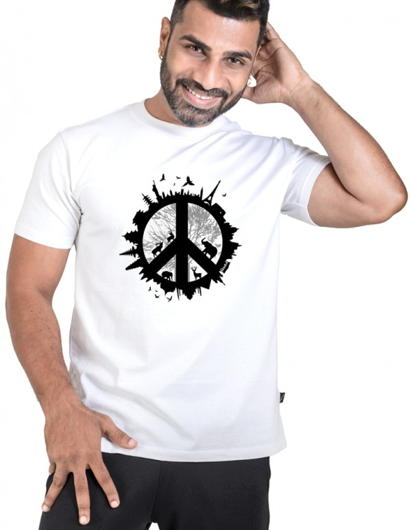 Men's White Custom Printed Peace Tee
