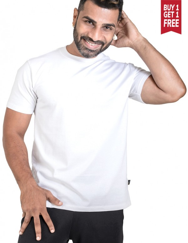 Tees -Crew Neck Men's White Plain T-shirt