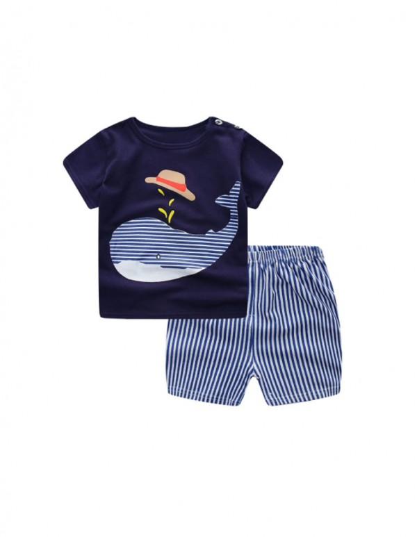TGX-Navy Fish Print Half Sleeves T-shirt